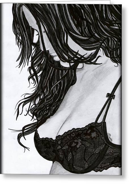 Saki Art Greeting Cards - Beautiful Girl Greeting Card by Saki Art