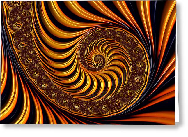 Abstract Digital Digital Art Greeting Cards - Beautiful golden fractal spiral artwork  Greeting Card by Matthias Hauser