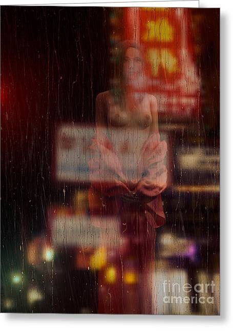 Asian Ethnicity Greeting Cards - Beautiful half naked asian woman in front of wet window Greeting Card by Oleksiy Maksymenko
