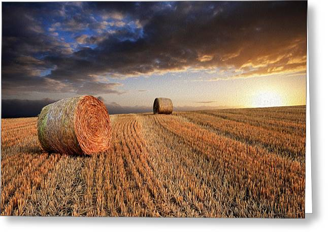 Hay Bales Greeting Cards - Beautiful hay bales sunset landscape digital painting Greeting Card by Matthew Gibson