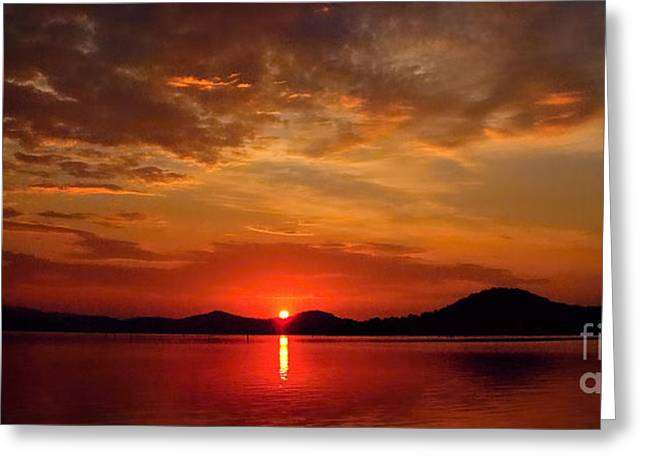 Surises Greeting Cards - Beautiful Heaven -  Sunrise Panorama Greeting Card by Geoff Childs