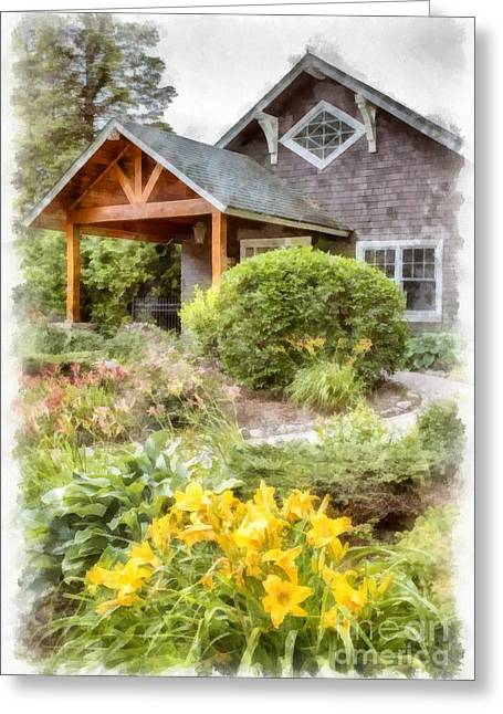 House Garden Greeting Cards - Beautiful Home and Garden Greeting Card by Edward Fielding