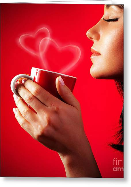 Coffee Drinking Greeting Cards - Beautiful lady drinking coffee Greeting Card by Anna Omelchenko