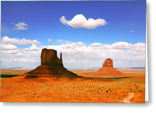 Cliffs Pyrography Greeting Cards - Beautiful Landscape of  Monument Valley Arizona Greeting Card by Katrina Brown