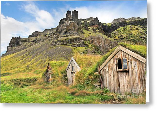 Old House Photographs Greeting Cards - Beautiful landscape with traditional turf houses in Iceland Greeting Card by JR Photography
