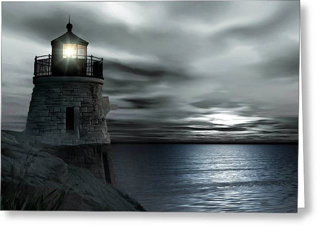 New England Coast Greeting Cards - Beautiful Light In The Night Greeting Card by Lourry Legarde