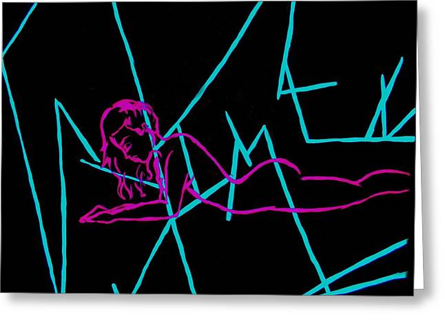 Empower Paintings Greeting Cards - Beautiful Lines Woman Greeting Card by Marisela Mungia