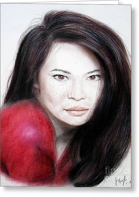 Leading Pastels Greeting Cards - Beautiful Lucy Liu Greeting Card by Jim Fitzpatrick