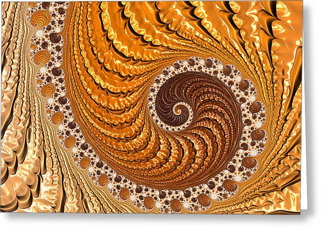 Golden Brown Greeting Cards - Beautiful luxe golden and brown spiral Greeting Card by Matthias Hauser