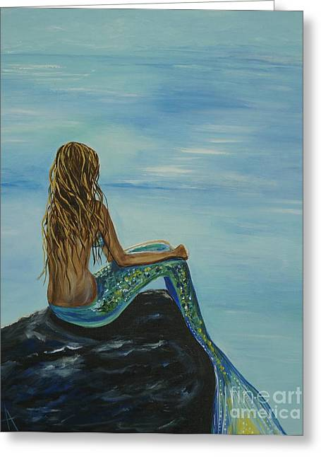 Beautiful Magic Mermaid Greeting Card by Leslie Allen