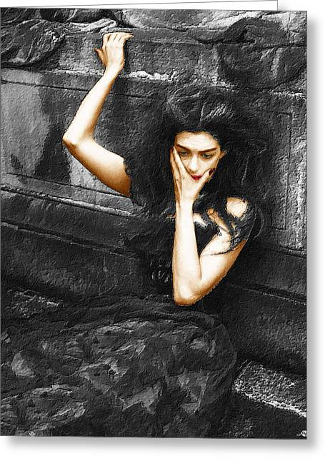 Long Dress Mixed Media Greeting Cards - Beautiful Melancholy 1 Greeting Card by Tony Rubino