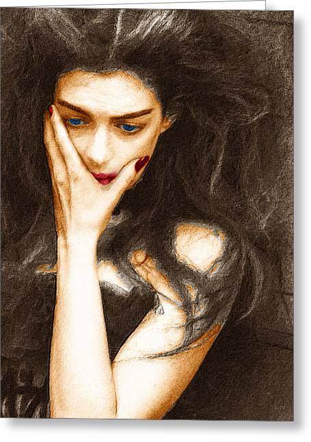 Long Dress Mixed Media Greeting Cards - Beautiful Melancholy 4 Greeting Card by Tony Rubino