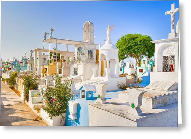 Mexican Culture Greeting Cards - Beautiful Mexican Cemetery in Merida Greeting Card by Mark Tisdale