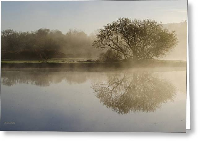 Beautiful Misty River Sunrise Greeting Card by Christina Rollo