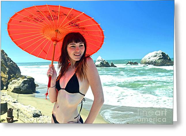 Ocean Art Photos Greeting Cards - Beautiful Model at Sutro Baths in San Francisco IV Altered Greeting Card by Jim Fitzpatrick