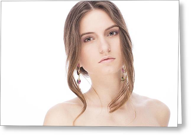 Cute Jewelry Greeting Cards - Beautiful model with earrings Greeting Card by Anastasia Yadovina