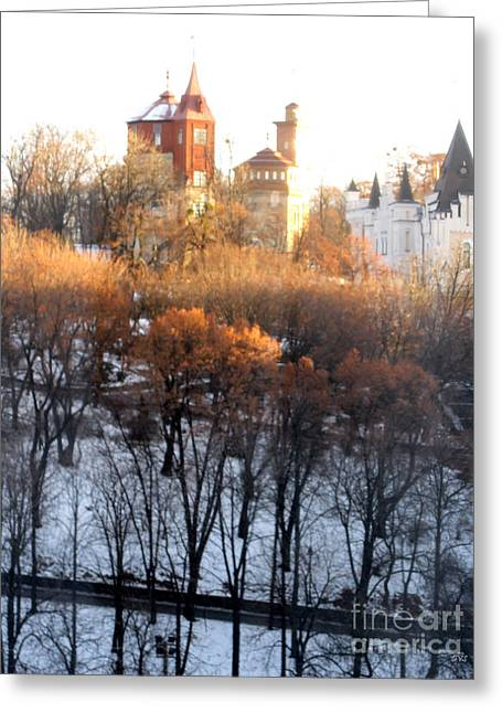 Winter Prints Pyrography Greeting Cards - Beautiful Morning in Kiev Greeting Card by Oksana Semenchenko