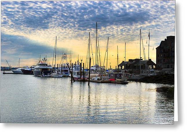 Boston Ma Greeting Cards - Beautiful Morning On Boston Waterfront Greeting Card by Mark Tisdale