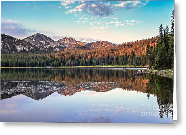 Haybale Greeting Cards - Beautiful Mountain Reflection Greeting Card by Robert Bales