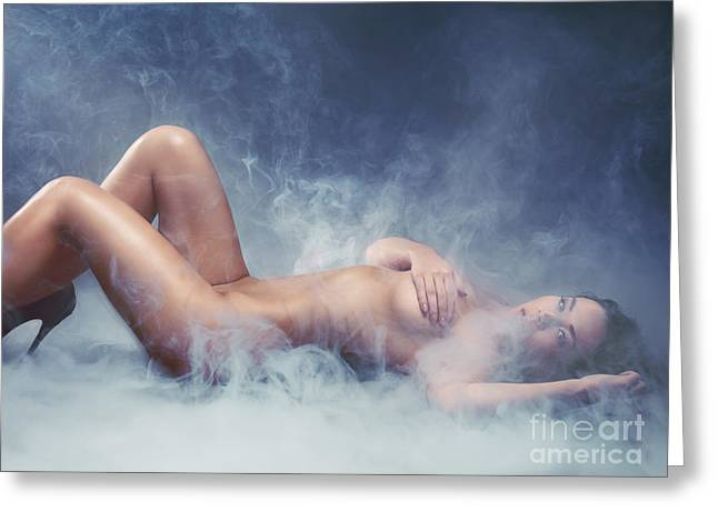 Girl Looking Down Greeting Cards - Beautiful naked woman lying in smoke Greeting Card by Oleksiy Maksymenko