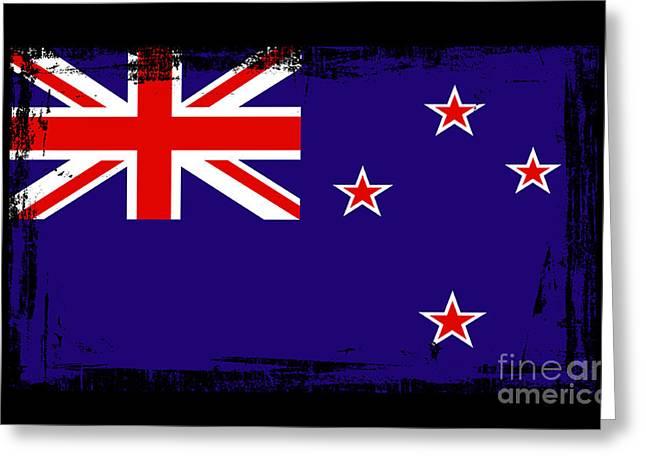 Beautiful New Zealand Flag Greeting Card by Pamela Johnson