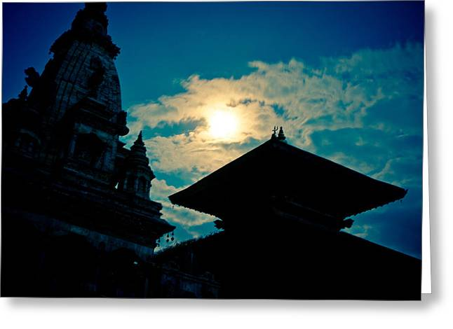 Town Square Greeting Cards - Beautiful Night Scene in old town Bhaktapur Greeting Card by Raimond Klavins