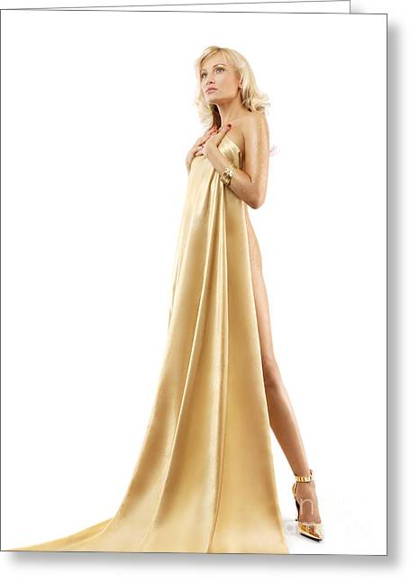 Highheels Greeting Cards - Beautiful nude blond woman covering with gold fabric Greeting Card by Oleksiy Maksymenko