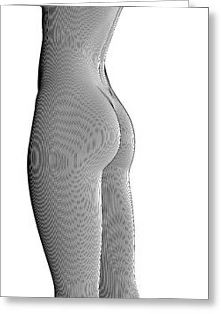 Creative People Greeting Cards - Beautiful Nude Young Woman Made With Lines Greeting Card by Nenad  Cerovic