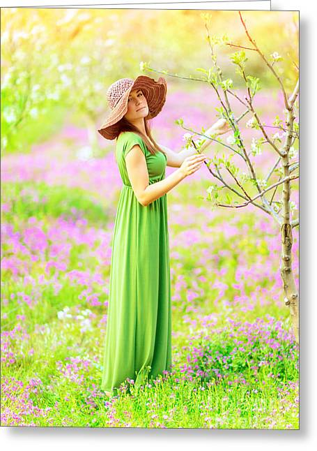 Green Flower Hat Greeting Cards - Beautiful nymph Greeting Card by Anna Omelchenko