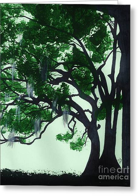 Best Sellers Drawings Greeting Cards - Beautiful Oak Trees Greeting Card by D Hackett