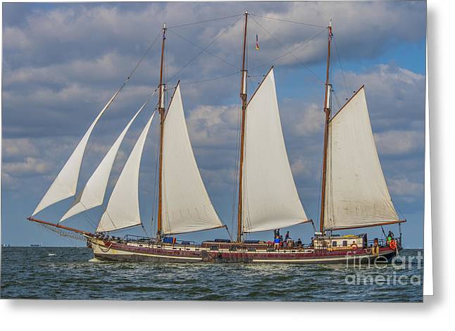 Morning Race Greeting Cards - Beautiful old Dutch wooden boat  Greeting Card by Patricia Hofmeester