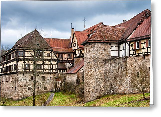 Mediaeval Greeting Cards - Beautiful old medieval town with city wall and half-timbered houses Greeting Card by Matthias Hauser