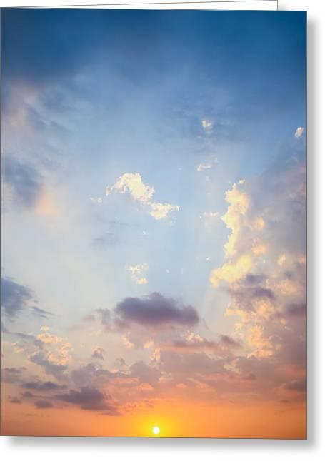 Newsom Greeting Cards - Beautiful Orange Sunset Greeting Card by Nila Newsom