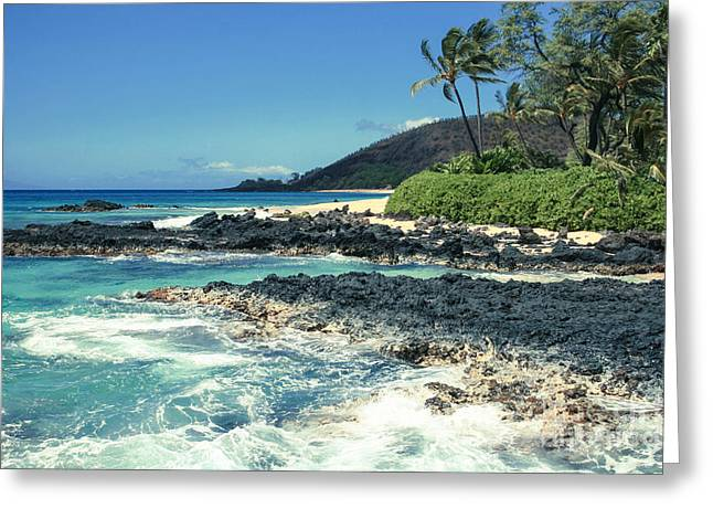 Honuaula Greeting Cards - Beautiful Paako Beach Makena Maui Hawaii Greeting Card by Sharon Mau