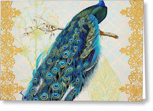 Filigree Greeting Cards - Beautiful Peacock-A Greeting Card by Jean Plout