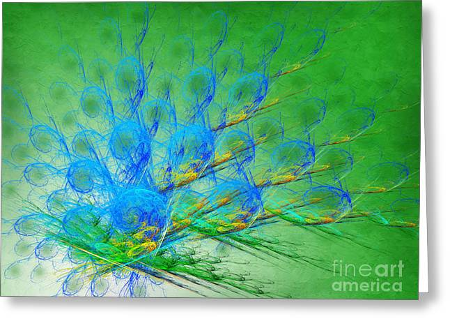 Shiny Mixed Media Greeting Cards - Beautiful Peacock Abstract 1 Greeting Card by Andee Design