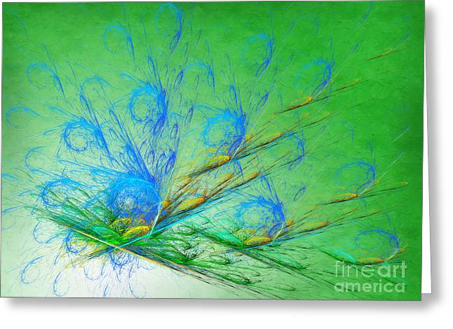 Abstract Images Mixed Media Greeting Cards - Beautiful Peacock Abstract 2 Greeting Card by Andee Design