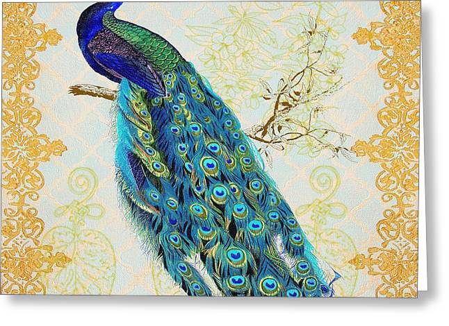 Filigree Greeting Cards - Beautiful Peacock-B Greeting Card by Jean Plout