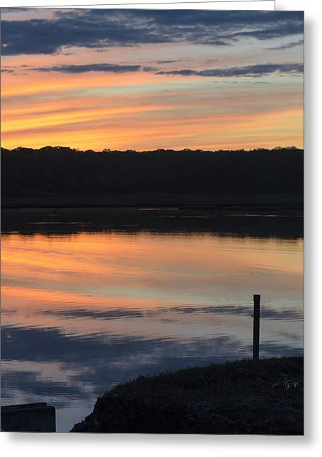 Beautiful Pink And Yellow Sunset Over A Connecticut Salt Marsh Greeting Card by Marianne Campolongo