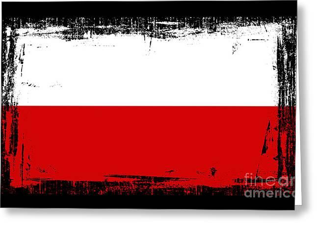 Europe Mixed Media Greeting Cards - Beautiful Poland Flag Greeting Card by Pamela Johnson