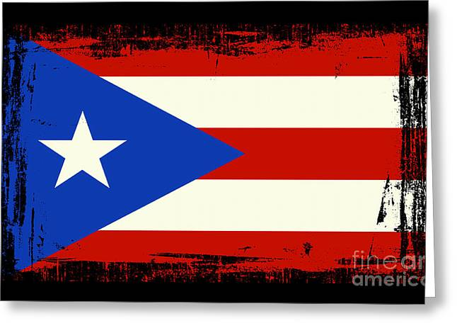 Recently Sold -  - Abstract Digital Greeting Cards - Beautiful Puerto Rico Flag Greeting Card by Pamela Johnson