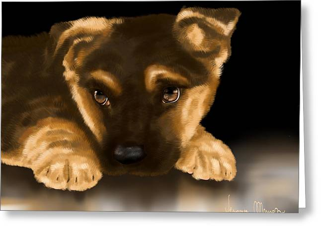 Beautiful Puppy Greeting Card by Veronica Minozzi