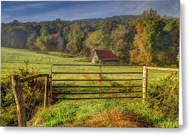 Old Barns Greeting Cards - Beautiful Reds of Autumn Greeting Card by Debra and Dave Vanderlaan