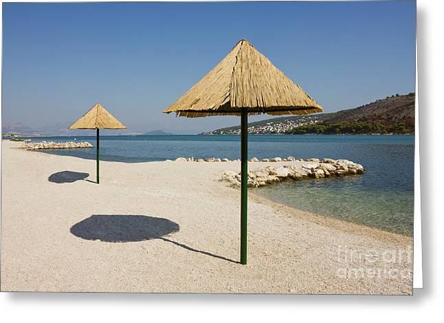 Sea View Greeting Cards - Beautiful Remote Beach near Trogir in Croatia Greeting Card by Kiril Stanchev
