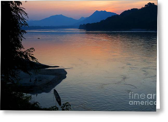 River Scenes Greeting Cards - Beautiful River Scene At Sunset, Laos Greeting Card by Bill Bachmann