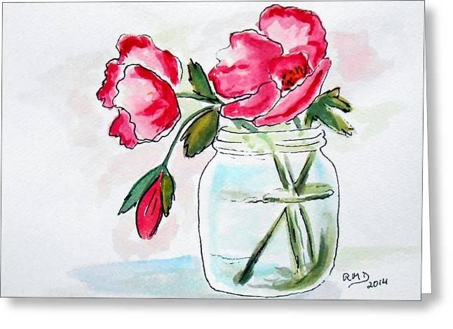 Water Jars Paintings Greeting Cards - Beautiful Roses in a Mason Jar Greeting Card by Rita Drolet