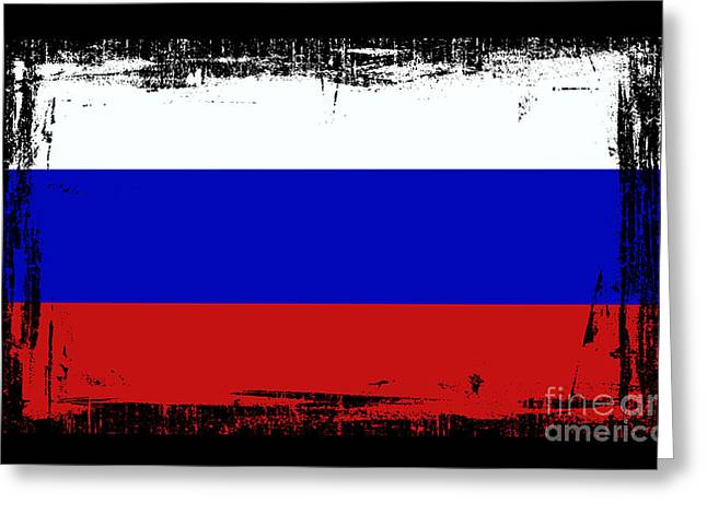Europe Mixed Media Greeting Cards - Beautiful Russia Flag Greeting Card by Pamela Johnson