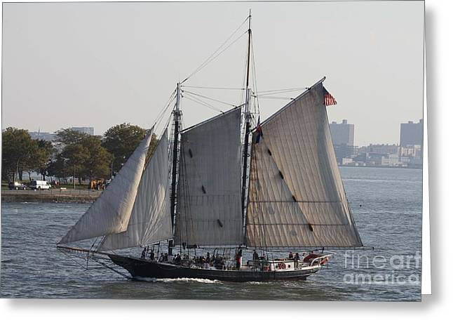 Sailboat Photos Greeting Cards - Beautiful Sailboat In Manhattan Harbor Greeting Card by John Telfer