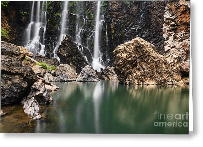 Falling Water Creek Greeting Cards - Beautiful Satoddi Falls in Western Ghats India Greeting Card by Vishwanath Bhat