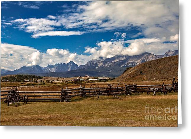 Haybales Greeting Cards - Beautiful Sawtooth Range Greeting Card by Robert Bales